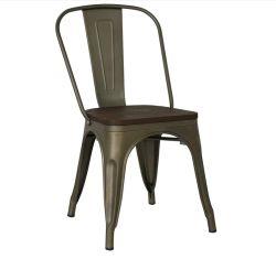 ビストロの喫茶店の側面の金属の椅子を食事する椅子の屋内屋外の使用のスタック可能クラシックを食事する金属