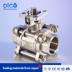 Dico Marca 3PC ISO de la plataforma de acero inoxidable de alta Válvula de bola de hilo de fundición Industrial