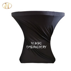 Yiwu Barra redonda de alto elástico negro de cóctel Spandex tela cubierta de mesa