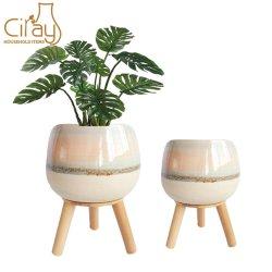 6,5 Zoll & 8 Zoll Creative Planter Topf mit Holz Stehen für Home & Garden Decoration