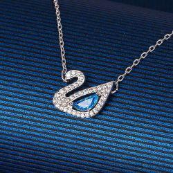 مجوهرات أزياء أمريكية أوروبية مجوهرات بلو ماسية عقد البجعة النمسا عقد هدايا عيد الحب سلسلة من الكلاتين الذهبية البيضاء الساحرة الرائعة للنساء