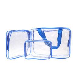 wesentliche Beutel-transparente wasserdichte Verfassungs-Kosmetik-Beutel Belüftung-Beutel-Toilettenartikel-Wäsche des Arbeitsweg-3PCS/Set, die Zubehör-Speicher-Beutel-Geschenk zur Mamma badet