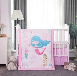 Einhorn Mermaid Rosa Baby Steppnähte Baumwolle Spannbettlaken und Dreiteilige Kinderbettwäsche
