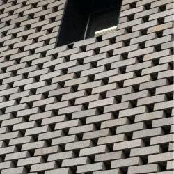 A parede que faceia cortina Revestimento de tijolos de barro terracota