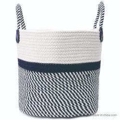 Corde de coton bleu romantique bandes tissées de jouets pour enfants du ménage des couvertures végétales divers vêtements sales Vêtements conteneur de stockage de blanchisserie Sac Panier avec poignées