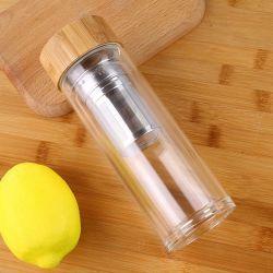 Cadeau d'affaires isolation écologique à double paroi en verre de couvercle de bois de bambou avec thé infuser le thé Tumbler Banboo Fibre de verre de boisson de haute qualité