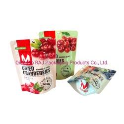 Snoepjes die van het Suikergoed van de Noten van de Snack van het Voedsel van de Douane van de Leverancier van China OEM Afgedrukte Droge de Tribune die van de Plastic Zak van de Diepvriesbewaring van de Zak omhoog inpakken met de Hoekplaten van de Ritssluiting en van de Bodem verpakken