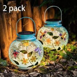 Linterna solar al aire libre jardín colgante, lámpara de Edison metal decorativo Dragonfly Butterfly luces azules de la tabla Patio