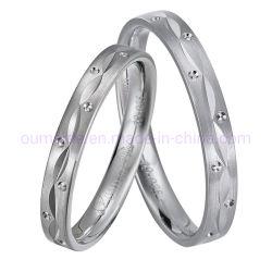 方法白い金ロジウム925純銀製の結婚指輪