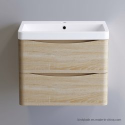 600mmのカシの壁はPolymarble盆地が付いている浴室の虚栄心の単位をハングさせた