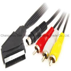 Fiche de Scart - 3RCA branche + câble de fiche de S-Video
