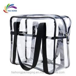 Sacchetti di Tote di plastica del collegare del PVC del blocco per grafici della radura trasparente del sacchetto con la chiusura lampo