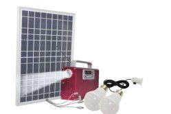 4개의 전구가 있는 휴대용 DC 가정용 태양열 시스템 무전기 스피커 뮤직 플레이어 10W 20W 30W 40W 50W