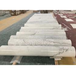 دائري/مربع/مجوف/صلب حجري رخامي أبيض اللون من الصين عمود روماني