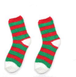 여자를 위한 주문 겨울 온난한 실내 무지개 줄무늬 크리스마스 슬리퍼 솜털 모양 아늑한 양말