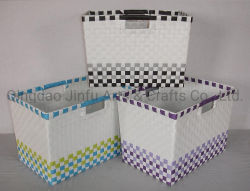 El PP de almacenamiento abierto tejida con asas de recorte de la canasta, el hogar Essentials