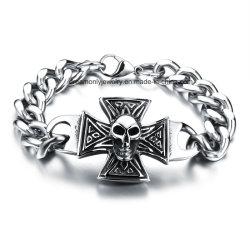 メンズのための卸し売りステンレス鋼の宝石類のバイカーのブレスレット316Lのステンレス鋼の頭骨のブレスレット