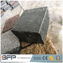 Großhandel natürliche Split Basalt Cobble Stone Interlocking Pflasterstein für Gehweg