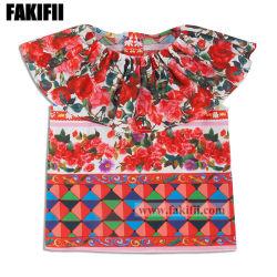 女の子の綿の花のブラウスの子供の摩耗のワイシャツに着せているばねまたは夏の子供