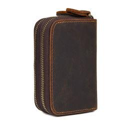 Barato preço presente de promoção de boa qualidade pequeno tamanho Brown Crazy Horse Chaves de couro Wallet