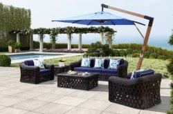 Villa casa de patio exterior moderno y de mimbre tejido Sunbrella buenos asientos profunda silla y mesa de café juego de muebles