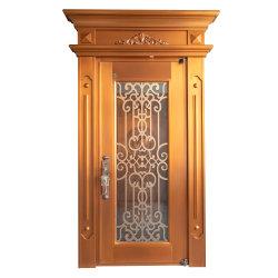 装飾的なスクロールが付いている金の外部二重層単一銅のドア