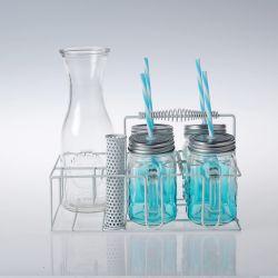 Commerce de gros de jus en verre haute qualité Mason verseuse en verre clair Jar Jar potable personnalisé défini avec couvercle de métal