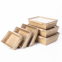 Papel descartável retirar o almoço refeição caixas com o Pet Janela Transparente