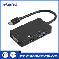 3 en 1 Rayo Dp Mini Displayport macho a HDMI Convertidor Adaptador DVI VGA Cable negro