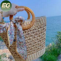 T136 ручной работы из тончайшего летом пляж фантазии спицы сумку за круглым столом обставлены плетеной ручкой женщин соткать мешки соломы с шарфом
