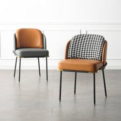 Tejido francés gris Silla de Comedor Comedor Cojín de una silla de metal