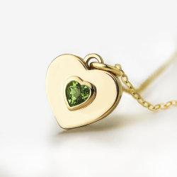 مجوهرات ذهبية الطبيعية Peridot شكل القلب 9K عقد الذهب غرامة المجوهرات
