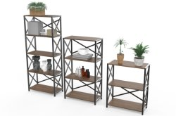 Espalda abierta de almacenamiento permanente organizador estantería rústica Industrial para Salón
