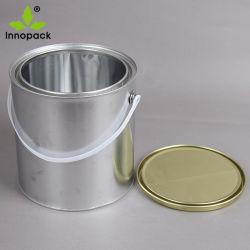 1L Lata Redonda de cubo con tapa hermética y mango de plástico para el uso de pintura