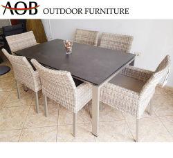 Muebles de jardín de ocio juegos de comedor silla de mimbre All Weather mesa de comedor con mesa de cerámica Glass-Based