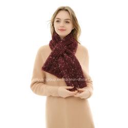 Fabricante OEM Señoras hilado teñido de acrílico de invierno Faux Fur Bufanda