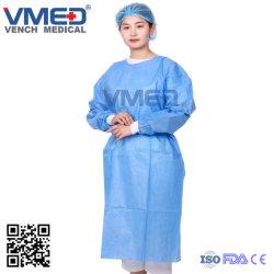 Jetables jetables de chirurgien SMS blouse Blouse chirurgicale de l'Hôpital d'isolation imperméable SMS Robe de protection médicale, des vêtements de protection