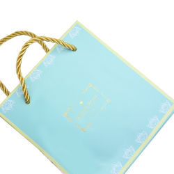 Gold Stamping Logo Printing Fashion Luxury Biodegradable Jewelry Paper Gift Bag