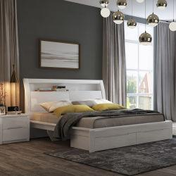 مجموعة أثاث حديثة عالية الجودة من غرفة النوم ذات اللون الأبيض العالي اللامع