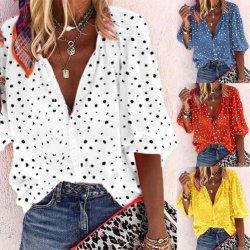 크기 인쇄 3/4 소매 V 목 셔츠 플러스 여름 형식 여자 블라우스