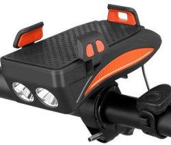 Téléphone mobile d'éclairage vélo Stander circonscription Projecteur portatif léger de vélo de l'avertisseur sonore Source d'alimentation défini pour feux de Cycle multifonction