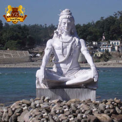 Mano che intaglia scultura di pietra di marmo naturale di grande signore indiano bianco Shiva Statue del dio di Hingu