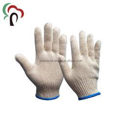 Malha de algodão branco natural luvas de trabalho de segurança