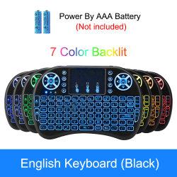 7 couleurs rétroéclairé I8 Mini clavier sans fil 2.4GHz Anglais Russe de l'air 3 couleurs de la souris avec la commande à distance du pavé tactile Android TV Box
