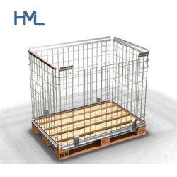 Huameilong esmaga galvanizado malha de arame de aço desmontável Palete de gaiola de dobragem