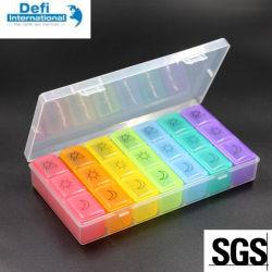 21 de Doos van de Geneeskunde van de Pil van de Kleur van de Regenboog van compartimenten