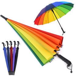 lang Wholesale grosse gerade heiße Verkäufe 16K fördernden Regenbogen-Golf-Regenschirm auf Lager