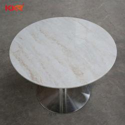 Round mármore artificial branco Superfície sólida Stone mesa de jantar para Kfc (20010811)