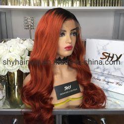 El cabello humano brasileño frontal encaje peluca 26pulgadas de alta densidad de ondulado Ombre pelucas bandas elásticas para pelucas