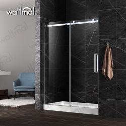 الحمام إطار ألومنيوم بسيط غرفة حاوية زجاجية منزلقة مستدقة الباب